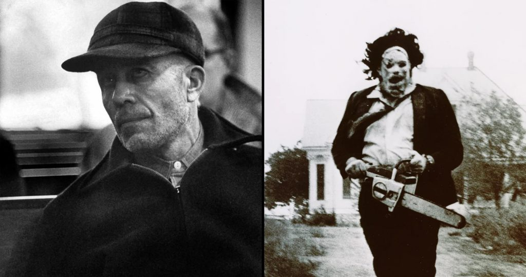 Real life killer Ed Gein (left) was the inspiration for leatherface (right)
