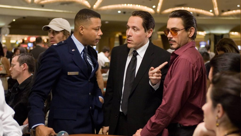 "Favreau on the set of ""Iron Man"" with Terrence Howard and Robert Downey Jr. (Paramount/Disney 2008)"