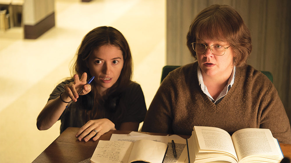 Director Marielle Heller and Melissa McCarthy on the set of CAN YOU EVER FORGIVE ME? Photo by Mary Cybulski.