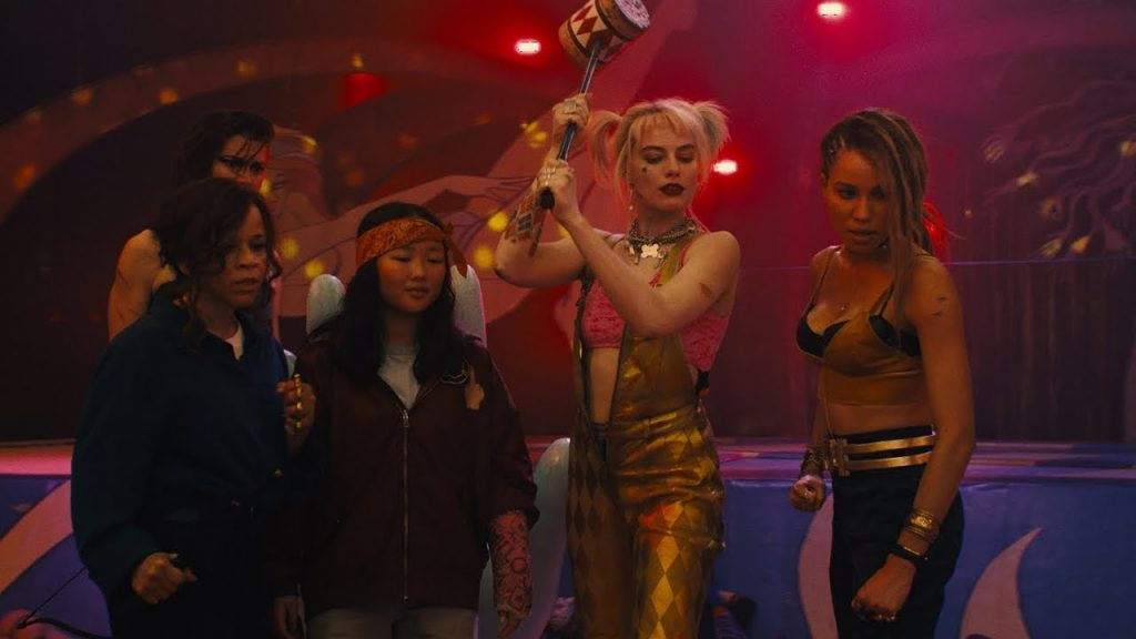 Rosie Perez as Renee Montoya, Mary Elizabeth Winstead as The Huntress, Ella Jay Basco as Cassandra Cain, Margot Robbie as Harley Quinn and Jurnee Smollett-Bell as Black Canary in Birds of Prey