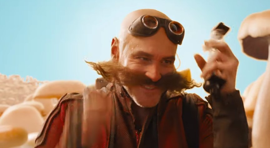 "arrey's most recent big-screen role, Dr Ivo Robotnik or ""Eggman"" in Sonic the Hedgehog   (Sega 2020)"
