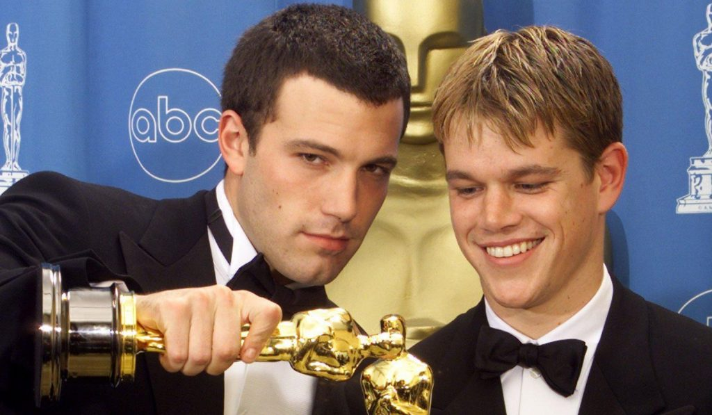 Affleck and Damon at 1998 Oscars, where they took home the award for Best Original Screenplay with Good Will Hunting, which they also starred in (ABC, 1998)