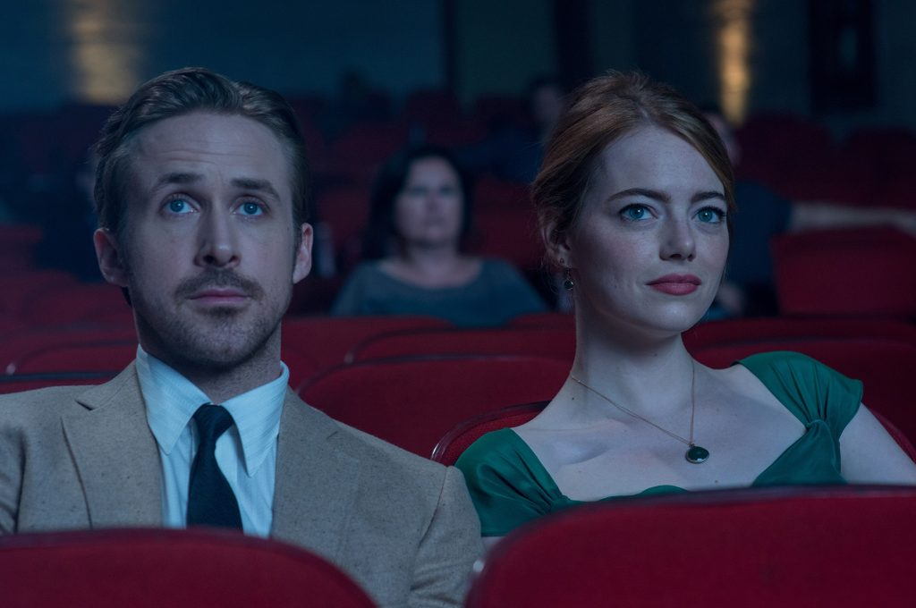 Gosling and Stone as Sebastion and Mia in La La Land (2016, Lionsgate)