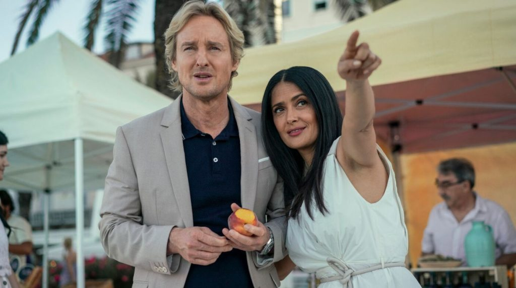 Owen Wilson as Greg and Salma Hayek as Isabel Clemens in Bliss // Credit: Amazon Studios