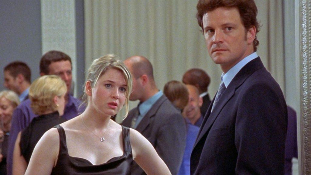 Renée Zellweger as Bridget Jones and Colin Firth as Mark Darcy in Bridget Jones's Diary