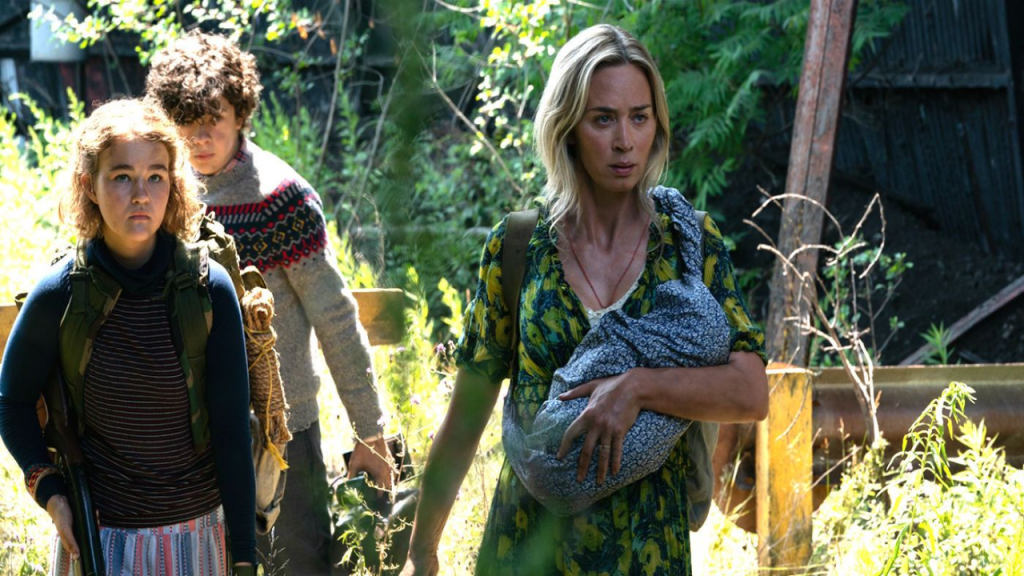 Millicent Simmonds as Regan Abbott, Noah Jupe as Marcus Abbott and Emily Blunt as Evelyn Abbott in A Quiet Place Part II