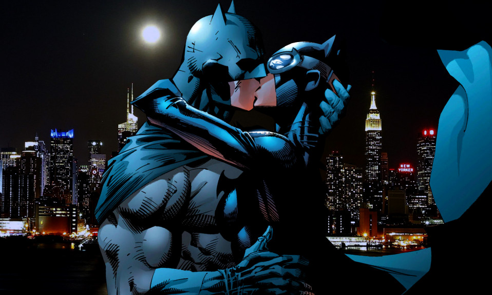 Superheroes Batman and Catwoman kissing [Source: The Young Folks]