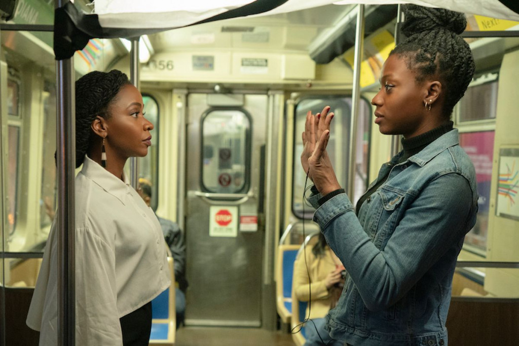 Teyonah Parris (left) with Nia DaCosta (right) on the set of Candyman